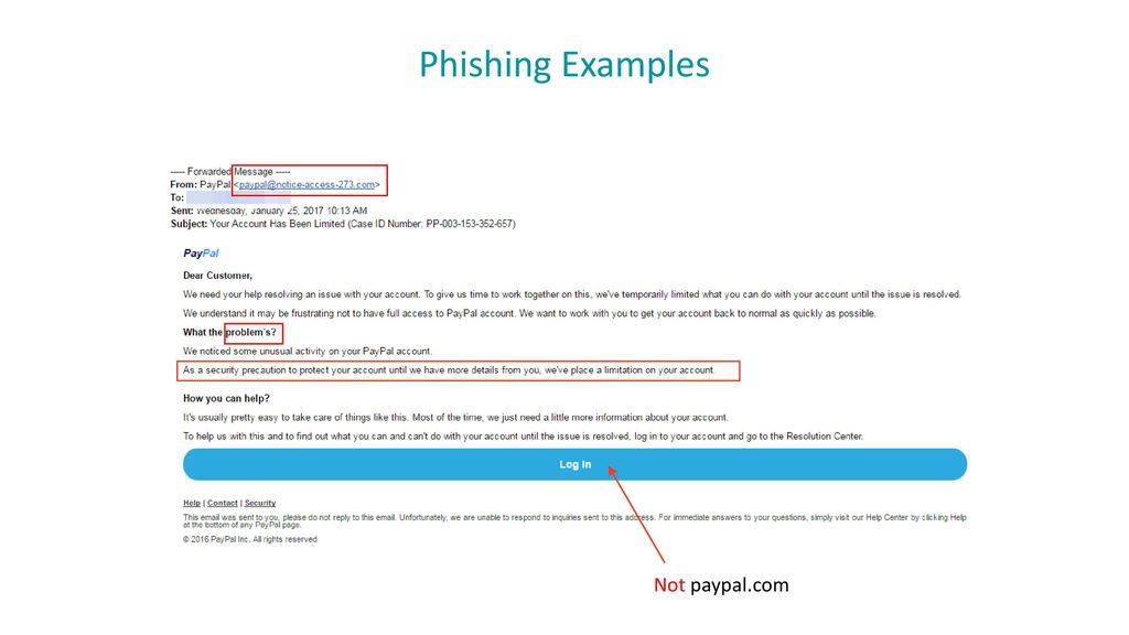 Phishing Examples Not paypal.com