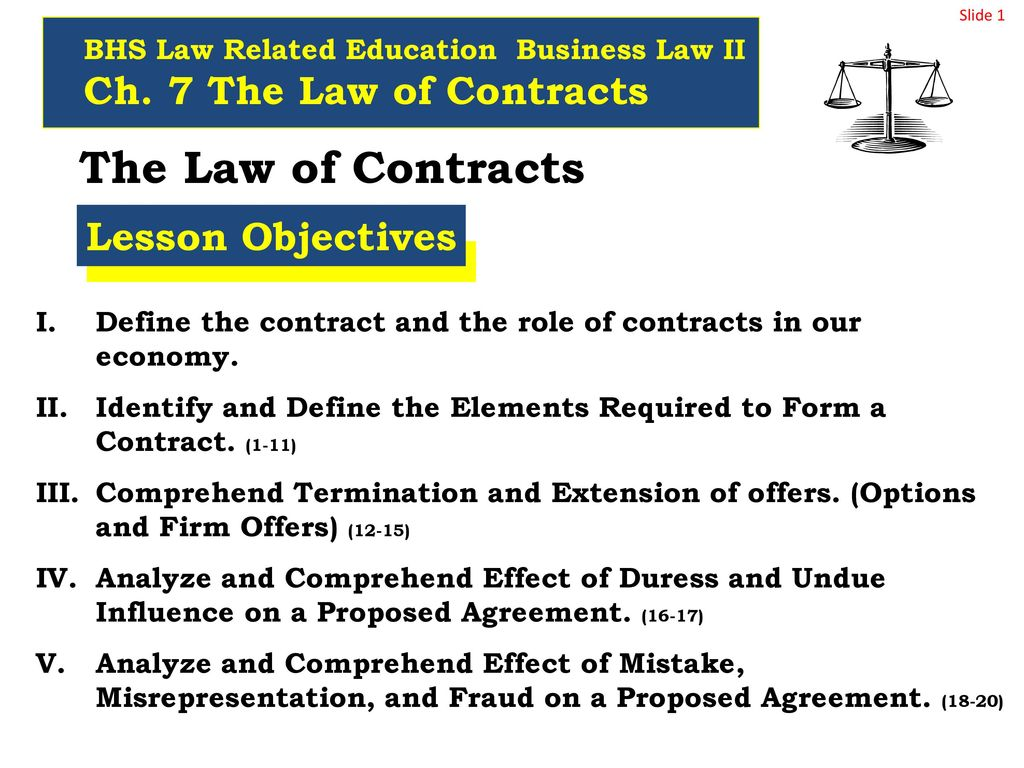 The Law Of Contracts Ch 7 The Law Of Contracts Lesson Objectives
