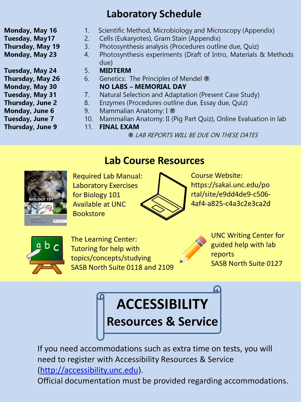 ACCESSIBILITY Resources & Service Laboratory Schedule