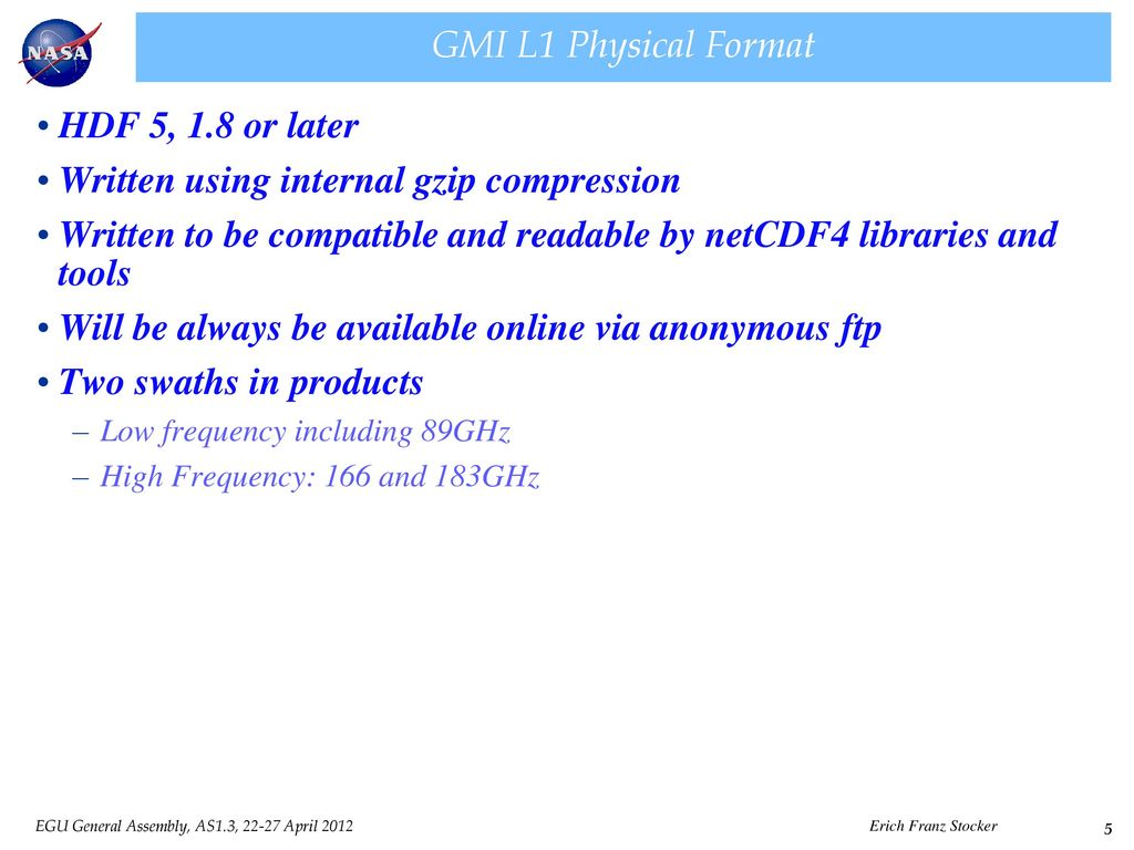 Synthetic Data and Data Formats for the GPM GMI Radiometer