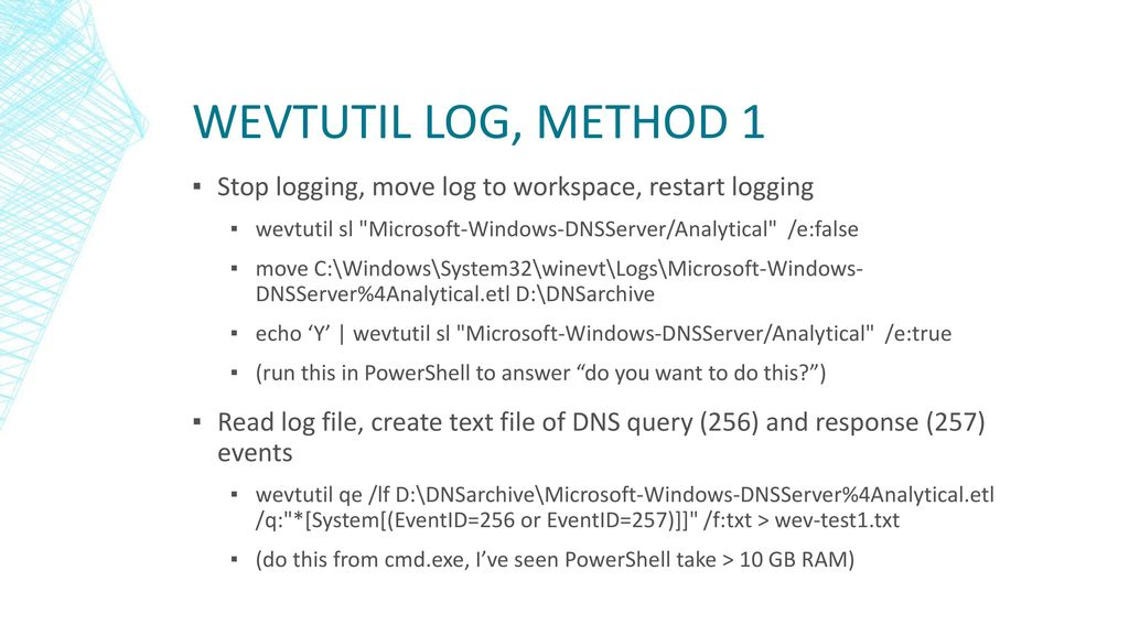 DNS Log Monitoring in a Windows Environment - ppt download