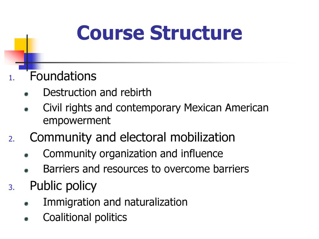Course Structure Foundations Community and electoral mobilization