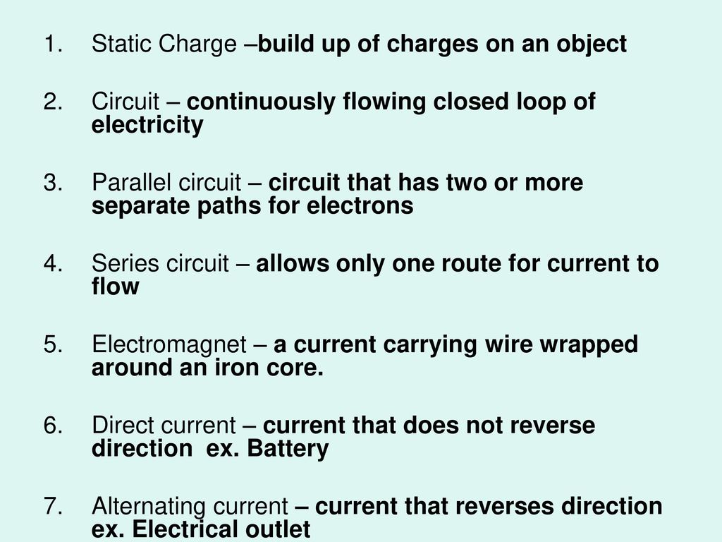 Electricity And Magnetism Ppt Download Circuit Is Path That Allows To Flow Through Static Charge Build Up Of Charges On An Object