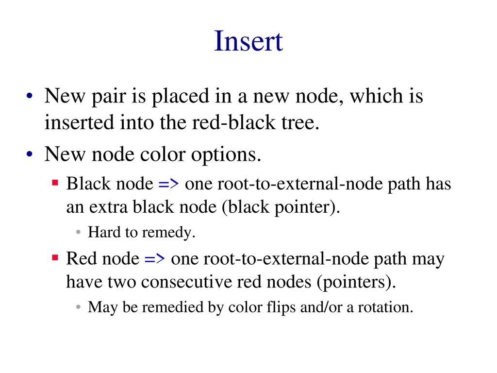 Insert New Pair Is Placed In A Node Which Inserted Into The Red