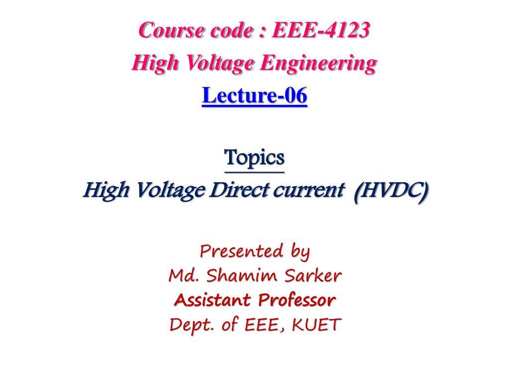 High Voltage Engineering Direct Current Hvdc Ppt Dc Regulator Circuit