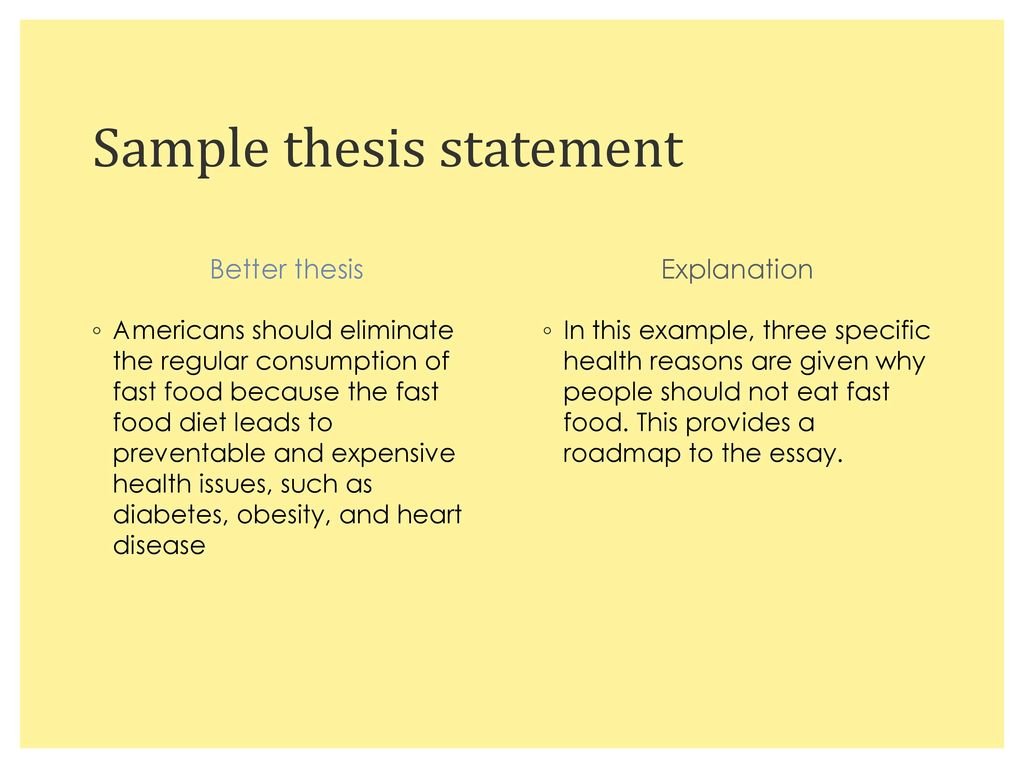 keys to creating a successful thesis statement   ppt download sample thesis statement