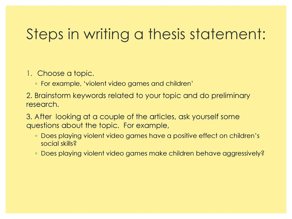 how to write a preliminary thesis statement Tips and tricks to writing a thesis statement movie buffs know that great films grab the viewer with a compelling opening scene bookworms can tell a best-selling novel from a dud within the first few paragraphs.