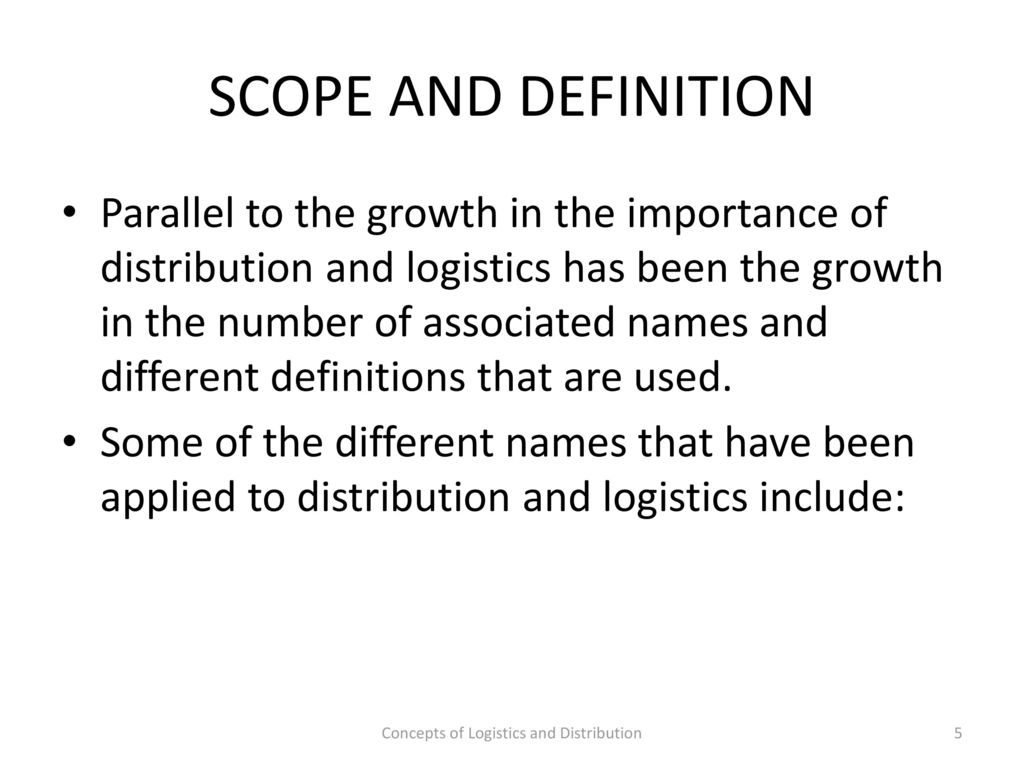 procurement- lecture 1 concepts of logistics and distribution - ppt