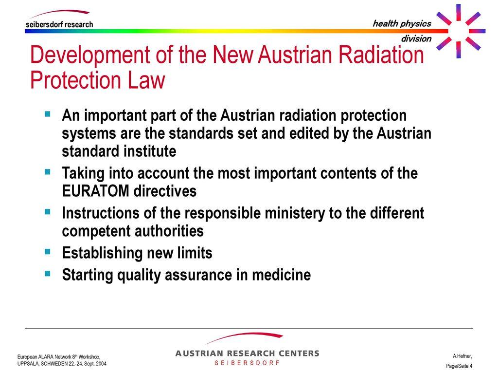 The established standards of radiation safety. Permissible radiation standards
