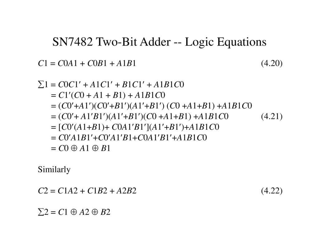 Chapter 4 Modular Combinational Logic Ppt Download Circuit 2 Twobit Adder Sn7482 Two Bit Equations