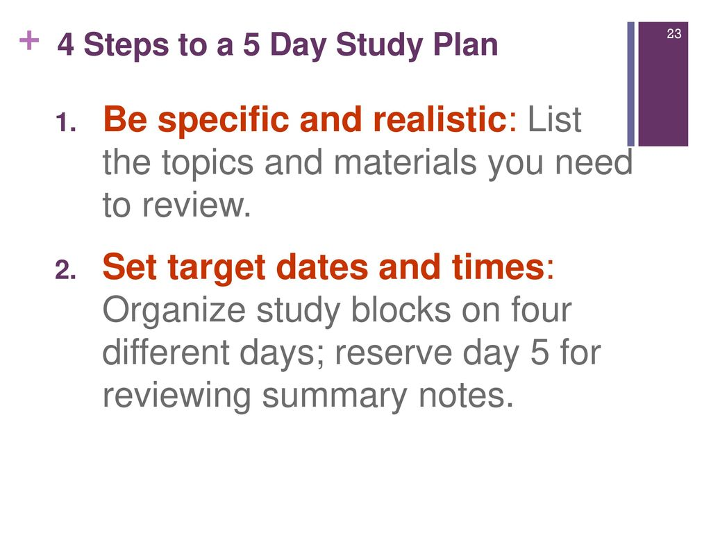 4 steps to a 5 day study plan