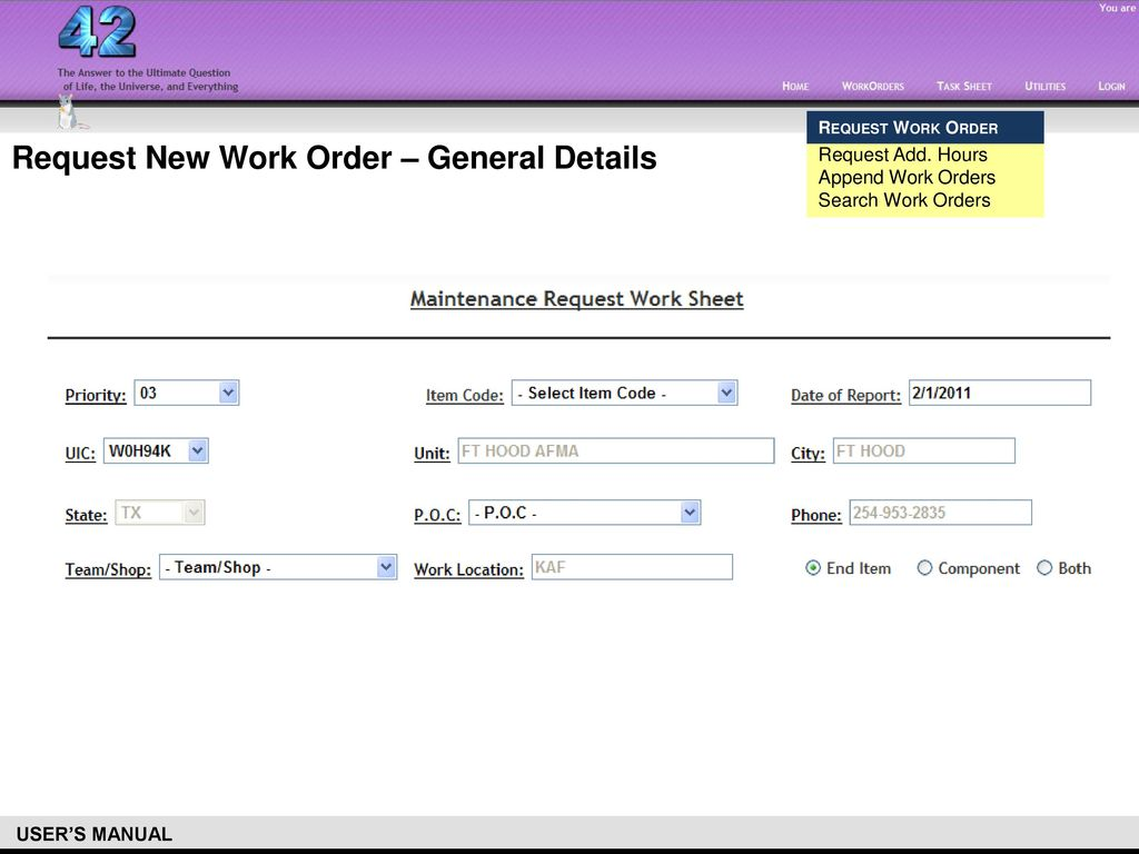 work order database overview prelim manual ppt download