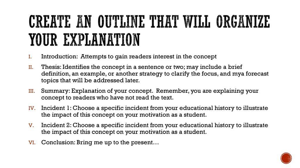 concept essay outline
