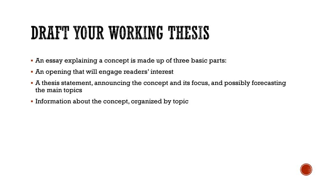 Explaining A Concept English  Essay Ppt Download  Draft Your Working Thesis An Essay Explaining A Concept  Custom Persuasive Speeches also Environmental Health Essay  Scotia One Business Plan Writer