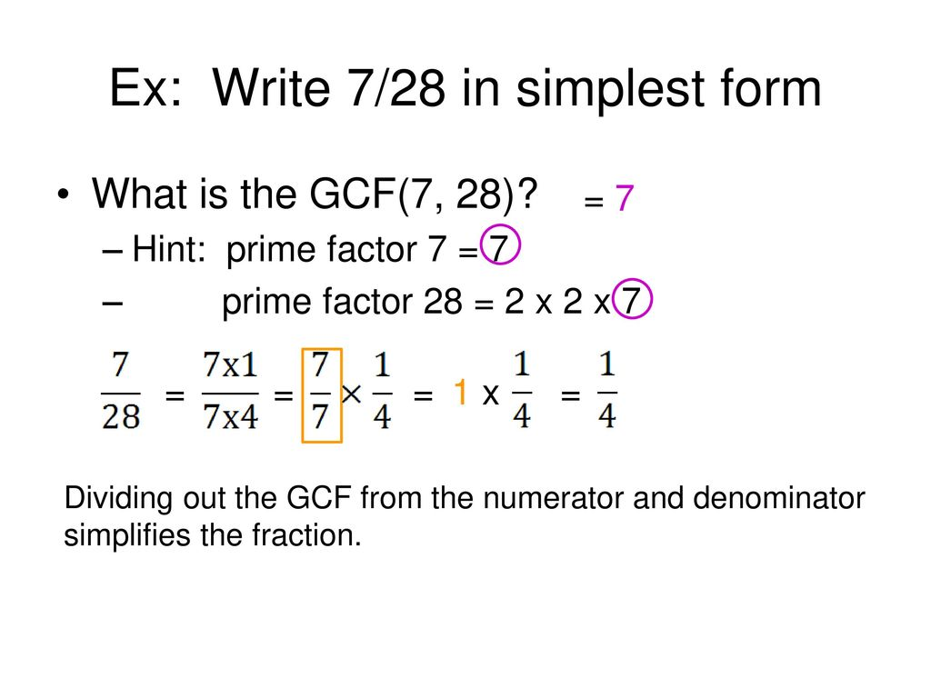 simplest form 7/28  INTRODUCTION TO FRACTIONS - ppt download