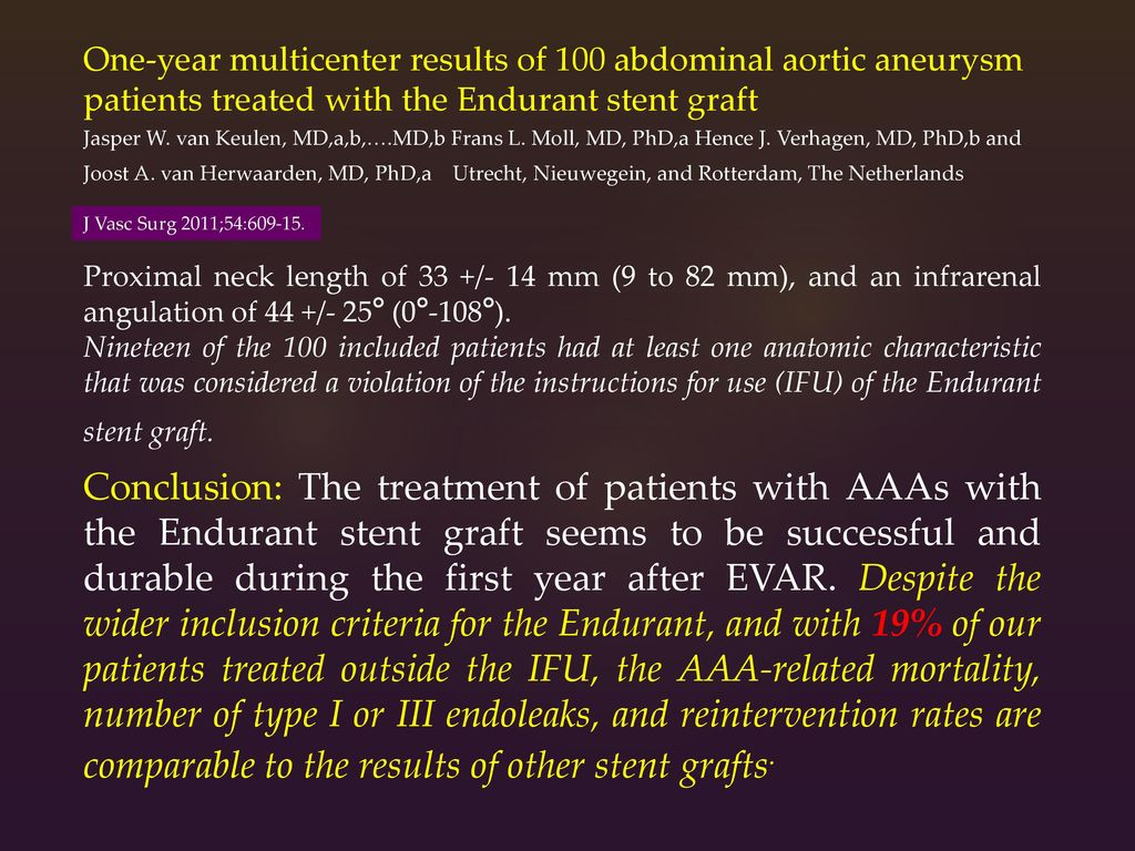 One-year multicenter results of 100 abdominal aortic aneurysm patients treated with the Endurant stent graft