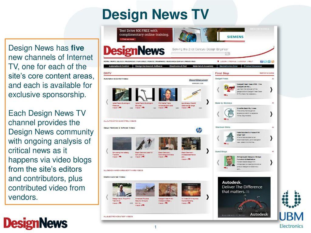 Design News TV Design News has five new channels of Internet