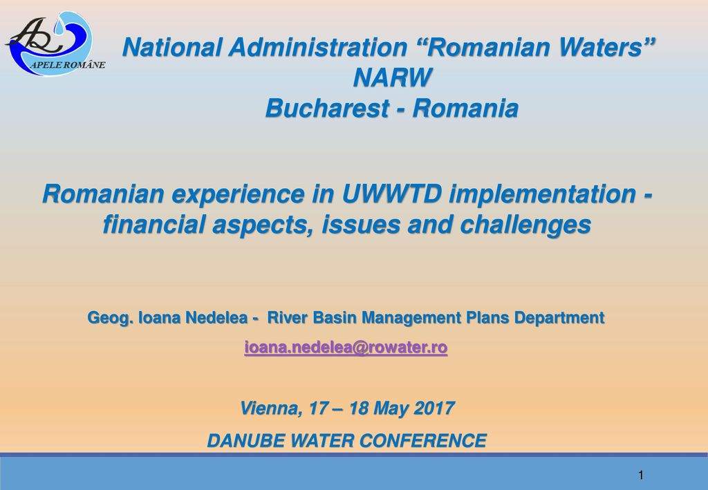 National Administration Romanian Waters NARW Bucharest - Romania