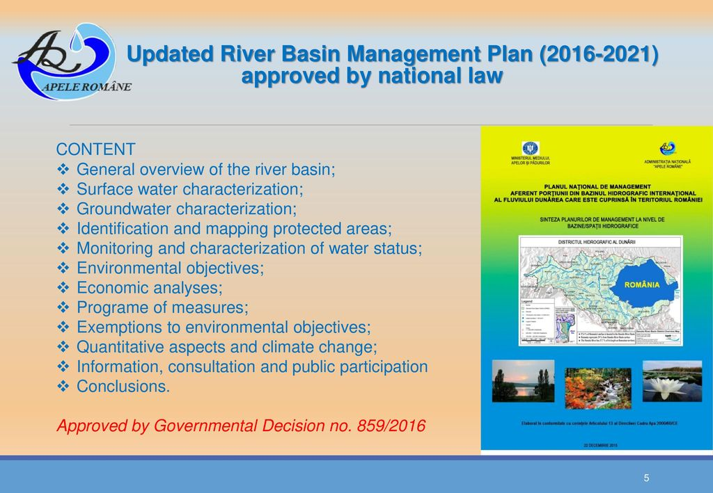 Updated River Basin Management Plan ( ) approved by national law
