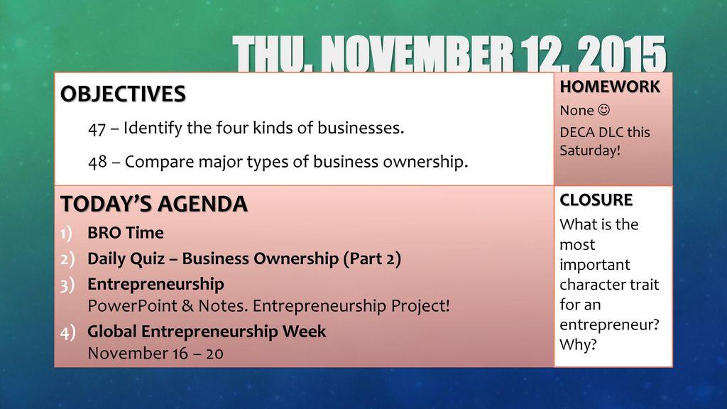 THU November 12 2015 Objectives Today S Agenda Homework