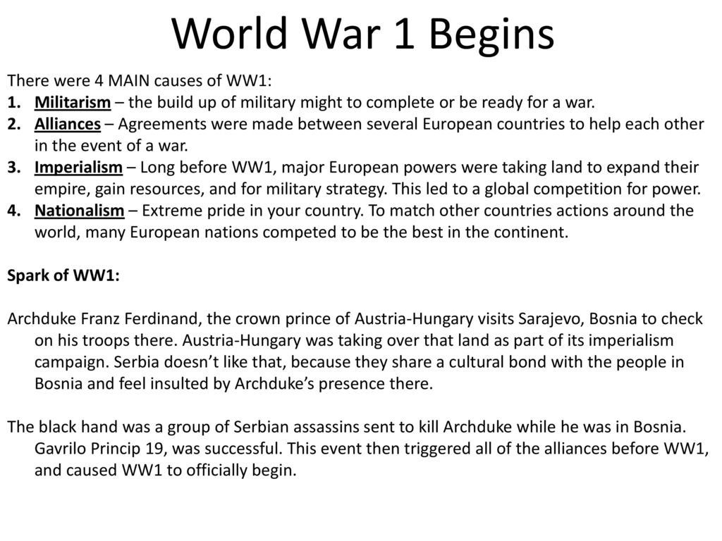 was militarism the main reason for causing ww1 essay - HD1024×768