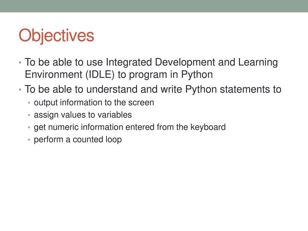 Python: Experiencing IDLE, writing simple programs - ppt