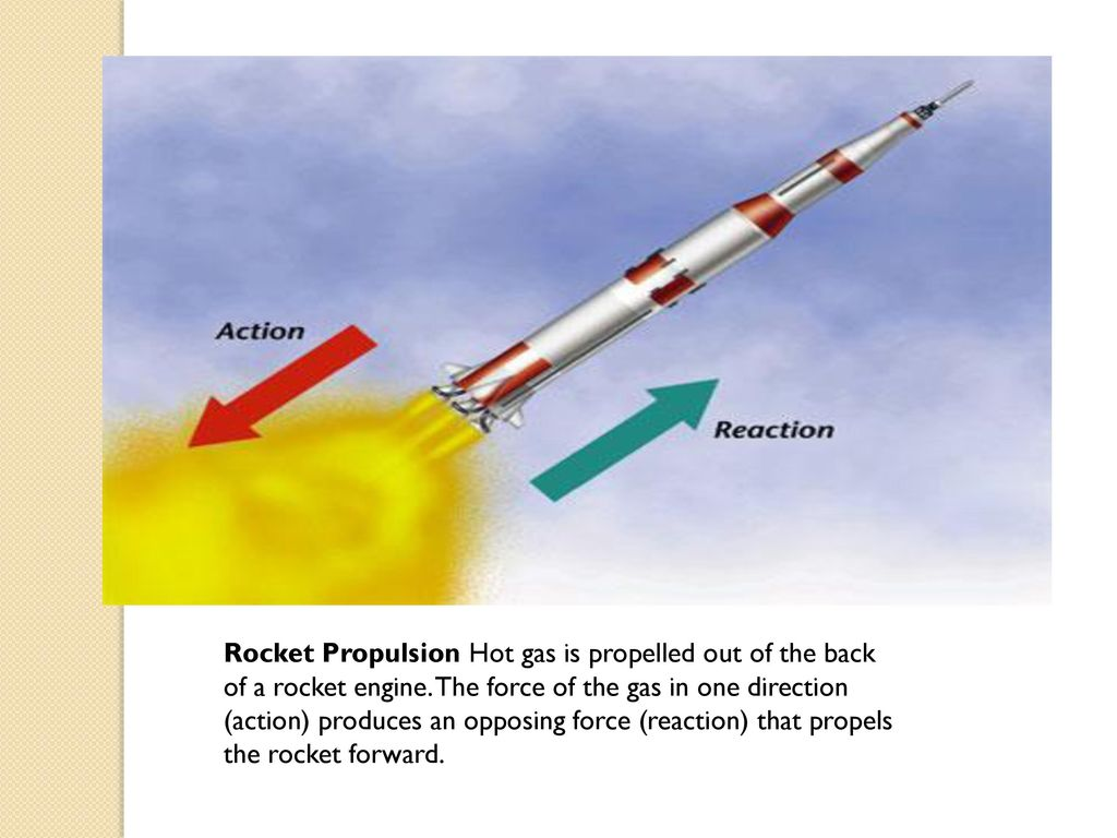 Rockets A rocket works by expelling a gas out of the rear and