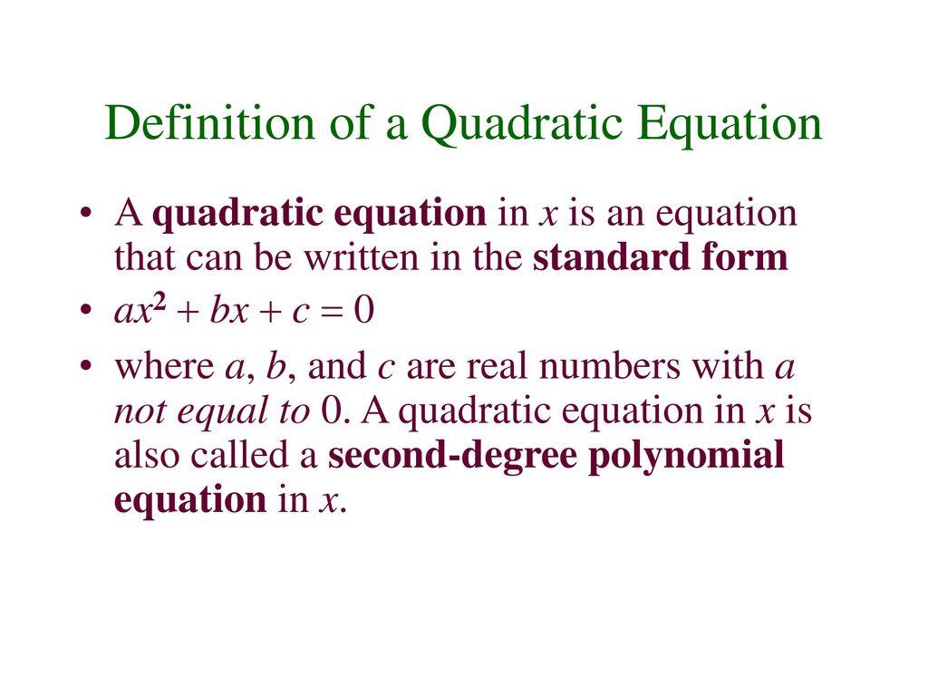 Quadratic Equation Definition