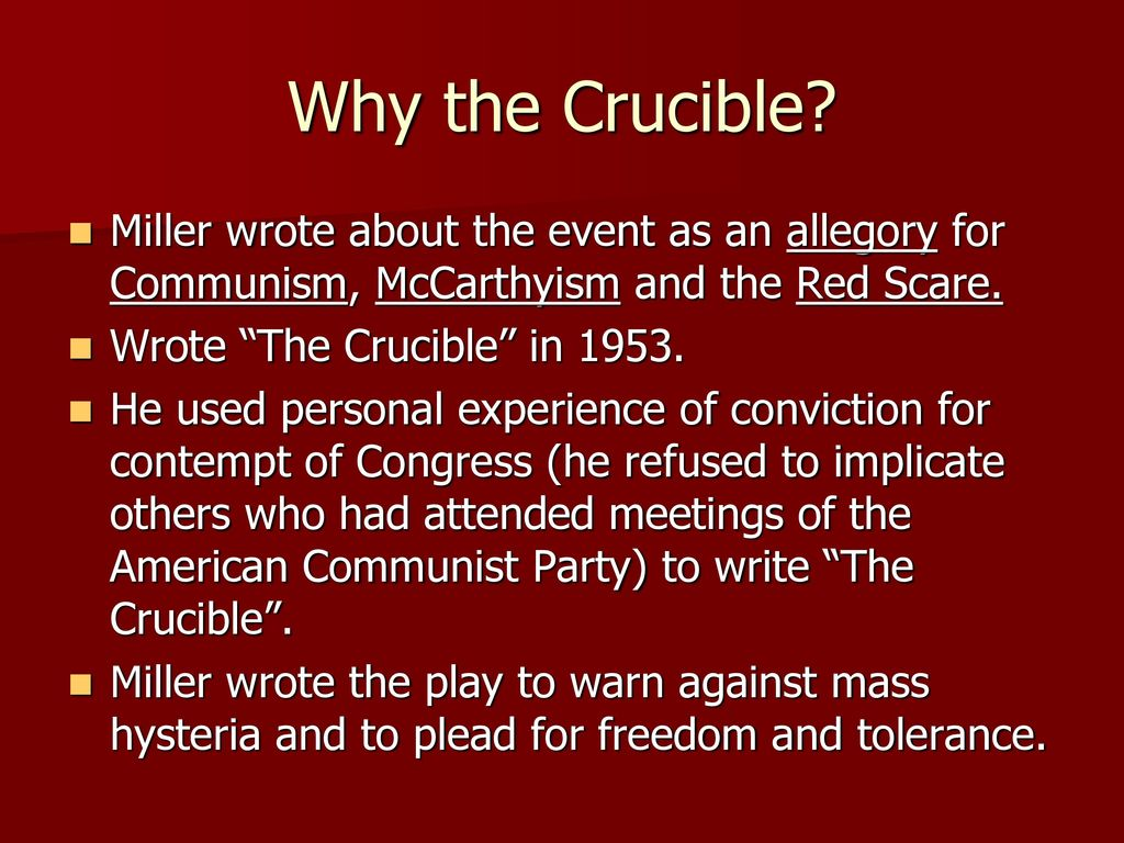 how does the red scare relate to the crucible