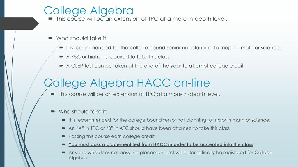 Math Course Selection  - ppt download
