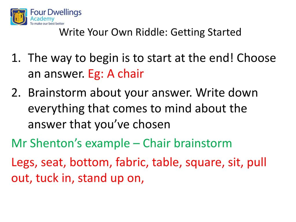Write Your Own Riddle Getting Started