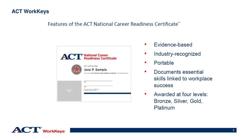 Act Student Score Report Progress Toward Career Readiness Ppt Download