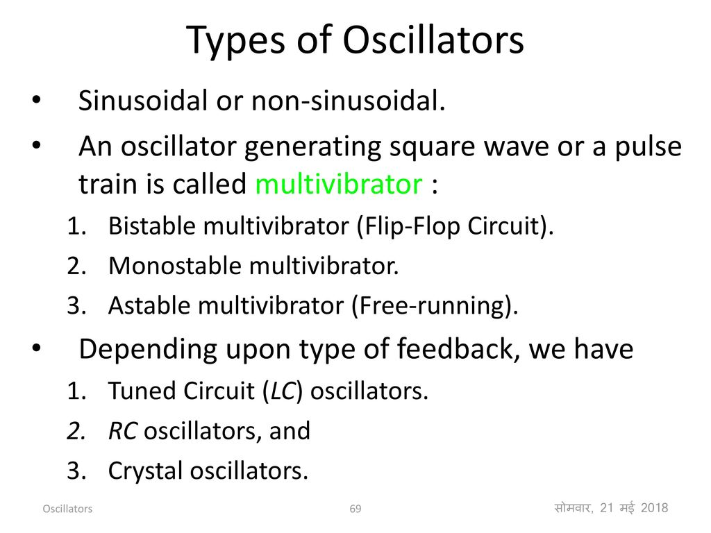 Feedback Amplifiers And Oscillators Ppt Download Figure 2 Analog Oscillator Circuits A Rc Astable Multivibrator B Types Of Sinusoidal Or Non