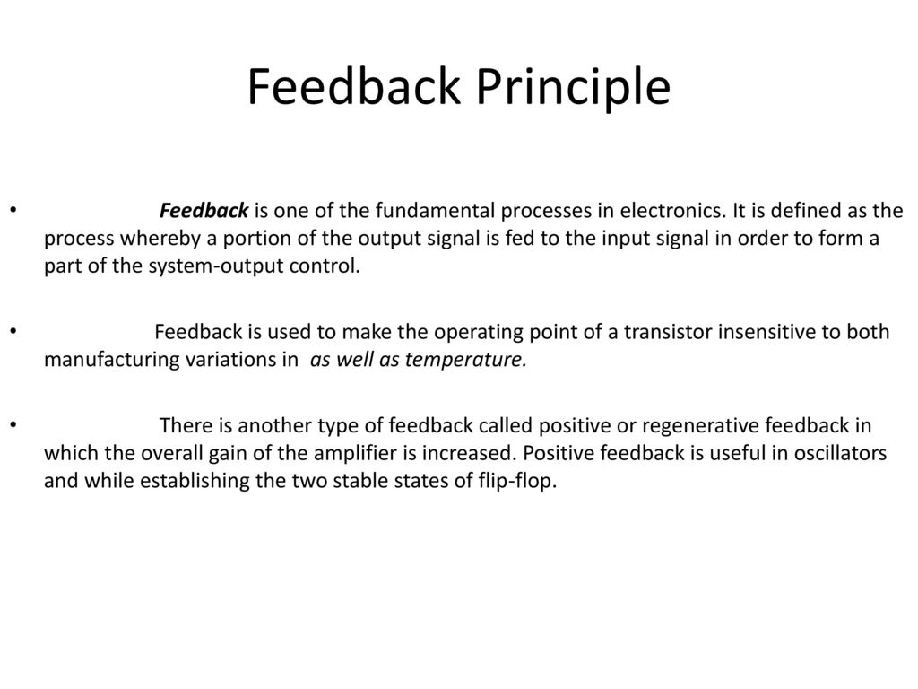 Feedback Amplifiers And Oscillators Ppt Download Transistor Amplifier Principle