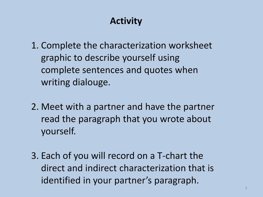 Worksheets Direct And Indirect Characterization Worksheet direct and indirect characterization ppt download activity complete the worksheet graphic to describe yourself using sentences quotes when writing 5 character