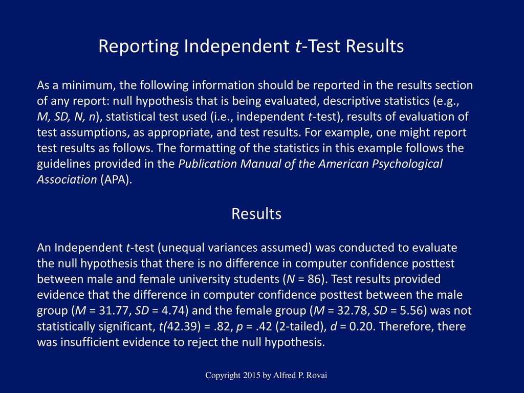 12 Reporting Independent T Test Results