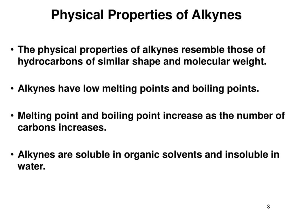 Chemical and physical properties of alkynes 54