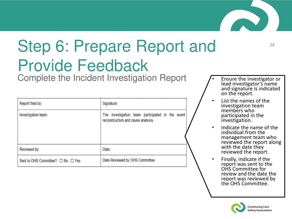 Step 6: Prepare Report and Provide Feedback