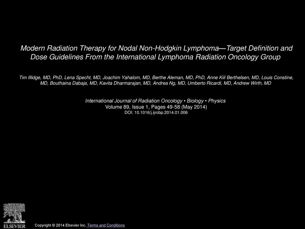 modern radiation therapy for nodal non-hodgkin lymphoma—target