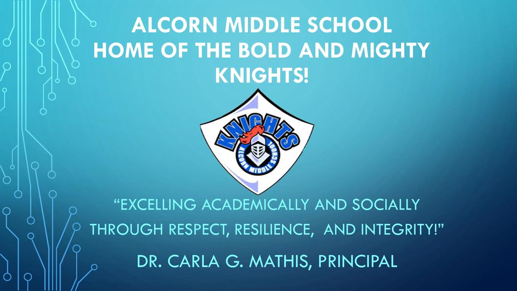 Alcorn middle school home of the bold and mighty knights