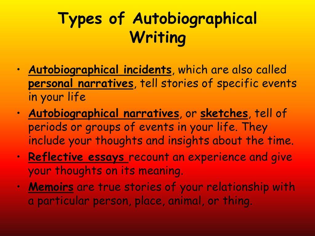 autobiographical incident essay