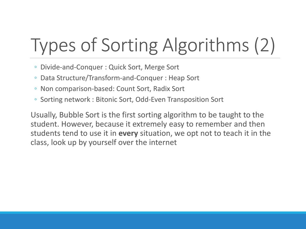types of sorting in data structure