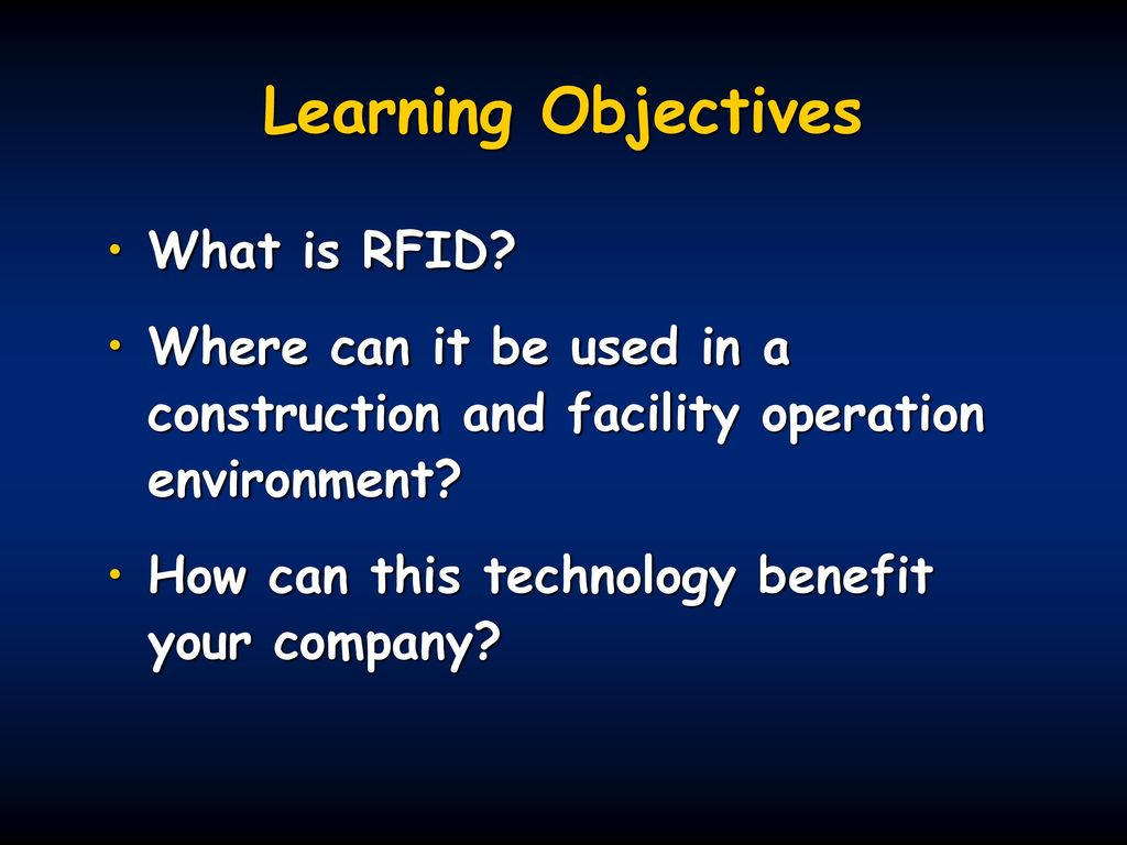 RFID Applications for Owners and Contractors - ppt download