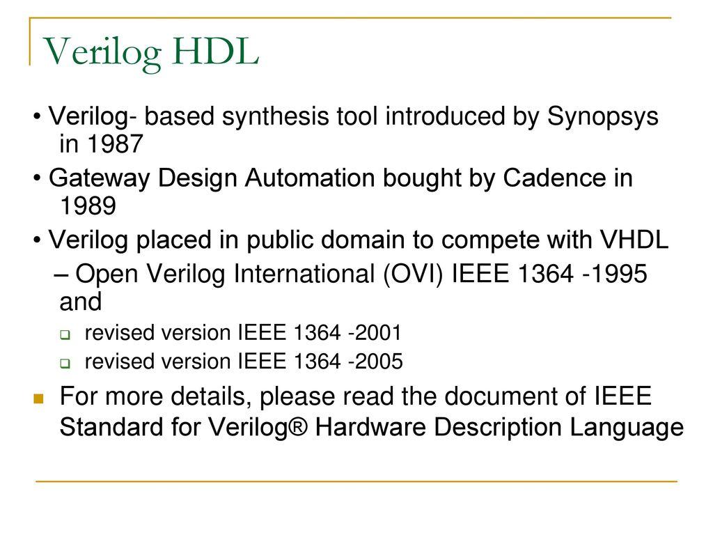 Verilog Hdl Reference Verilog Hdl A Guide To Digital Design And