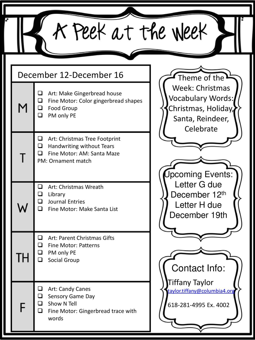 december 12 december 16 theme of the week christmas vocabulary words christmas