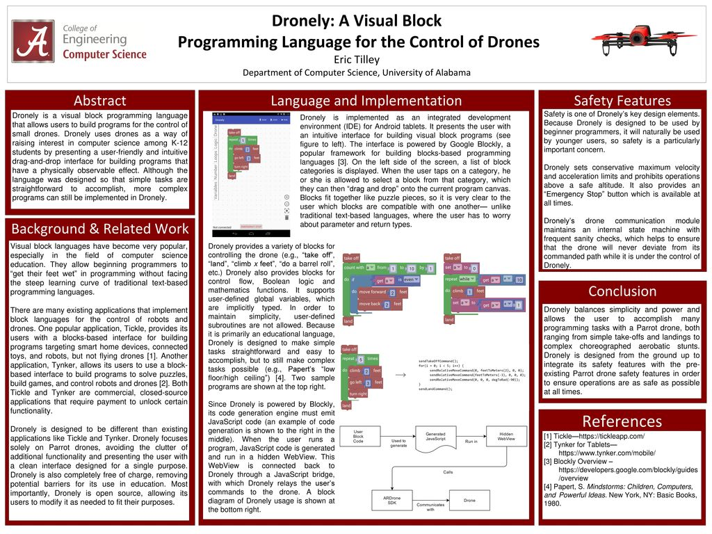 Dronely: A Visual Block Programming Language for the Control