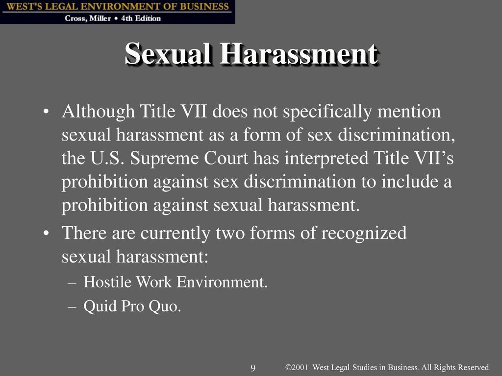 Not sexual harassment under title vii in cases