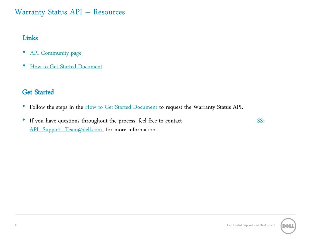 Warranty Status API Overview - ppt download