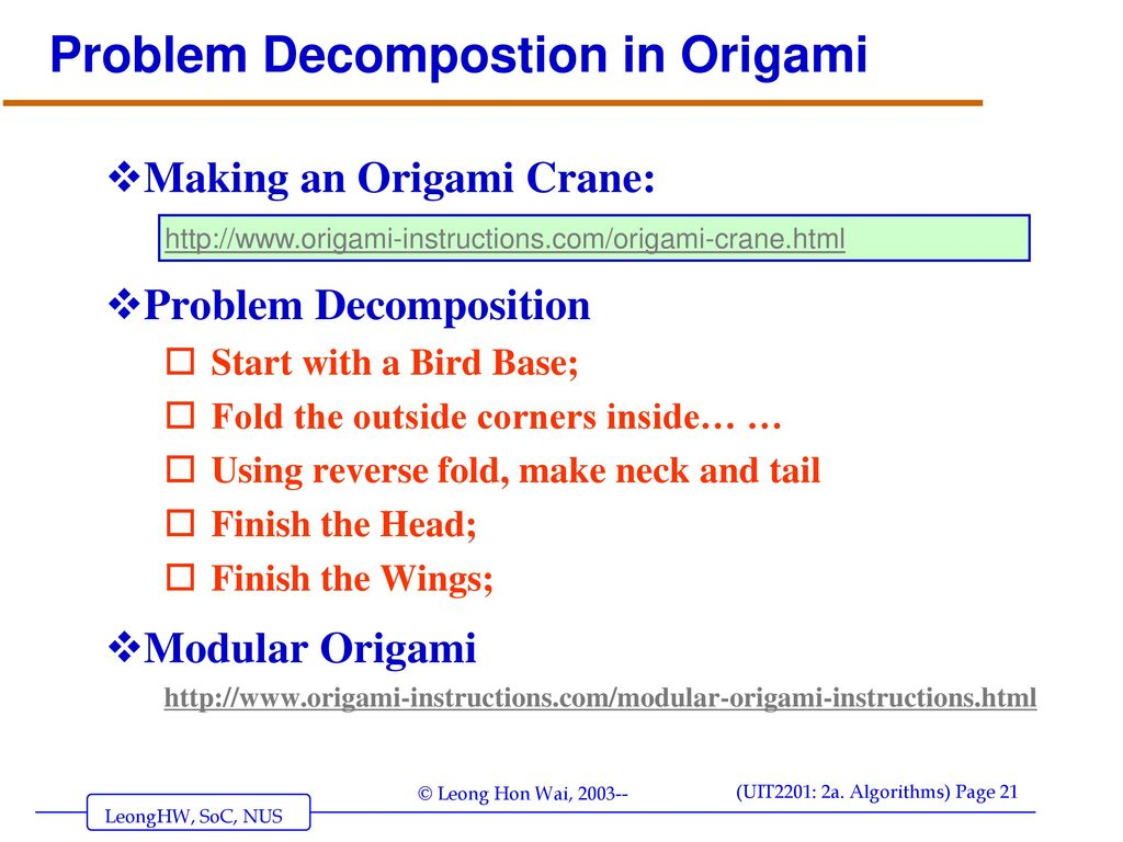 Algorithms Introduction Ppt Download Modular Origami Diagrams Problem Decompostion In