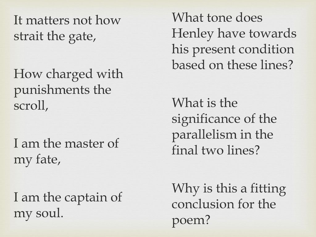 Using The Poem Invictus By William Ernest Henley Ppt